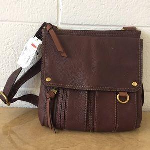 NWT Fossil Expresso Morgan Traveler Crossbody Bag